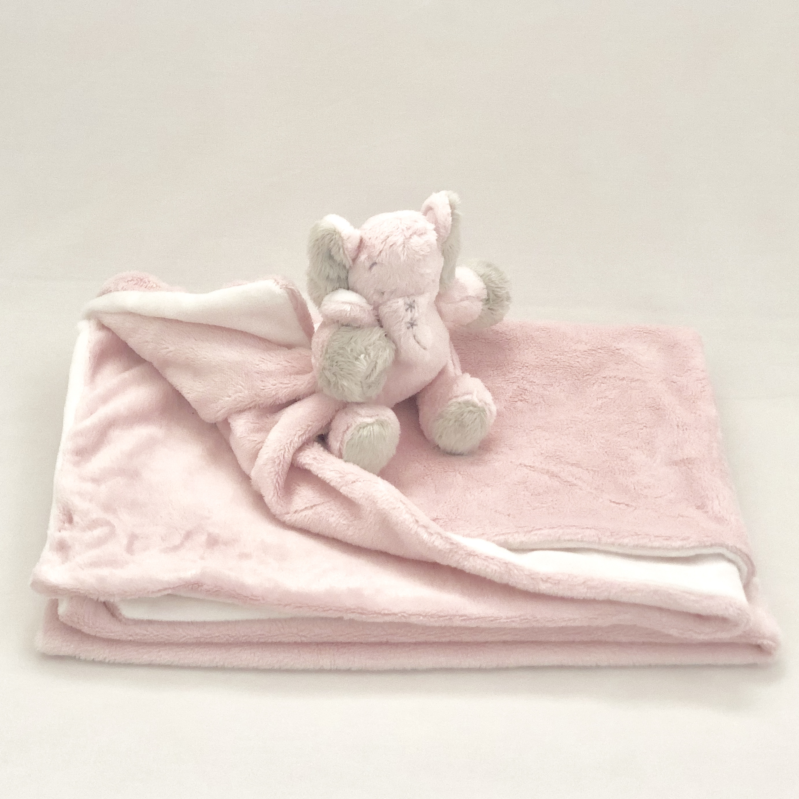 PINK AND WHITE BUNNY BABY BLANKET
