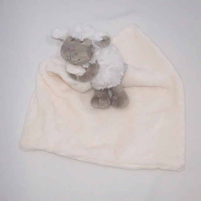 WHITE SECURITY BABY BLANKET WITH GREY SHEEP