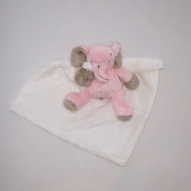 PINK & WHITE ELEPHANT BABY SECURITY BLANKET