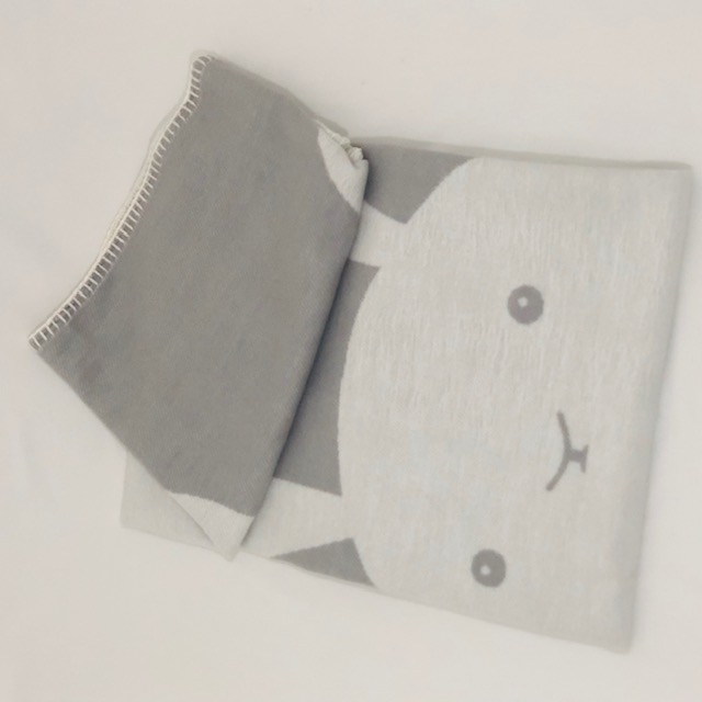 GREY & WHITE REVERSIBLE SNUGGLE BUNNY BABY BLANKET