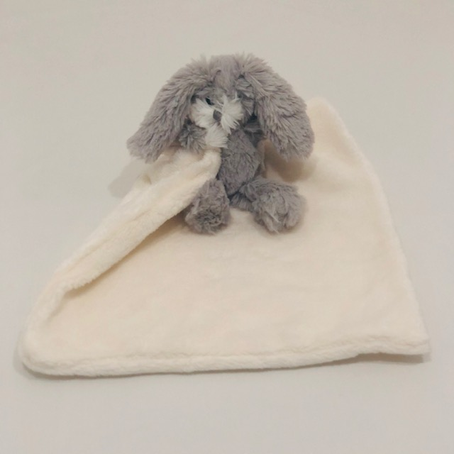 WHITE BABY SECURITY BLANKET WITH GREY BUNNY