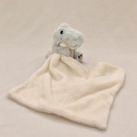 White Dou-Dou Blanket with Green Croc-A Saurus