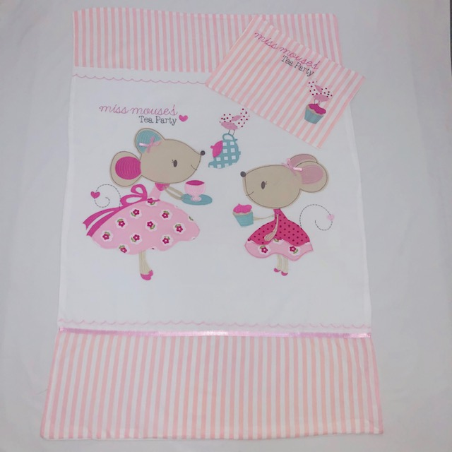 'MISS MOUSE'S TEA PARTY' PINK & WHITE DUVET COVER SET