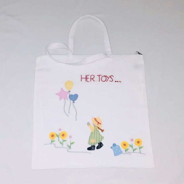 "WHITE COTTON LINED  ""HER TOYS......."" BAG"
