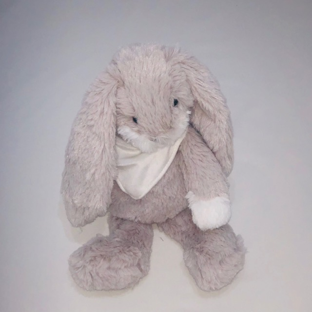 GREY BUNNY PLUSH TOY WITH BANDANA 30CM