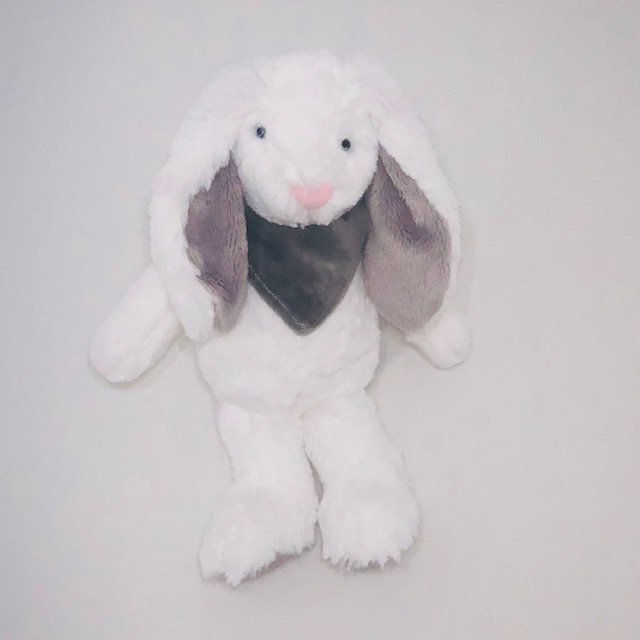 WHITE BUNNY  PLUSH TOY WITH GREY BANDANA