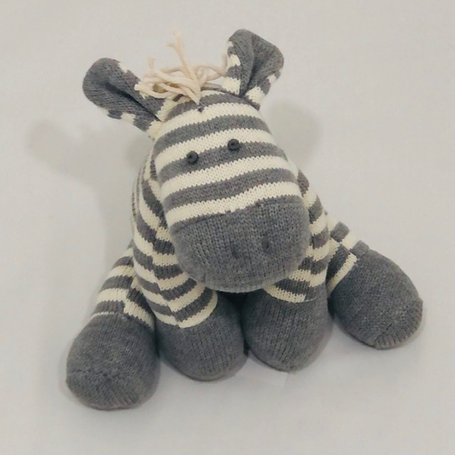 GREY & WHITE STRIPE ZEBRA KNITTED TOY