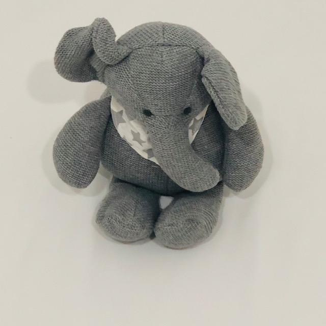 GREY & WHITE STRIPE ELEPHANT KNITTED TOY