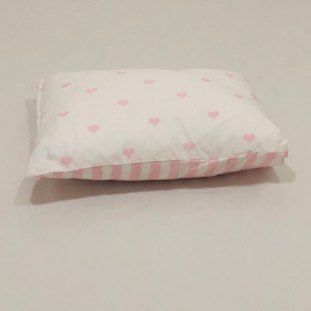 PINK AND WHITE HEART & STRIPES BABY PILLOW SLIP