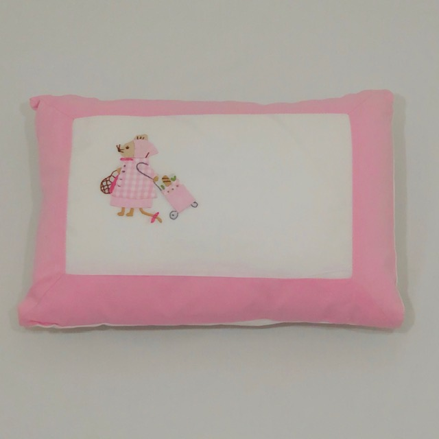 'MISS MOUSE' PINK & WHITE COTTON BABY PILLOW SLIP