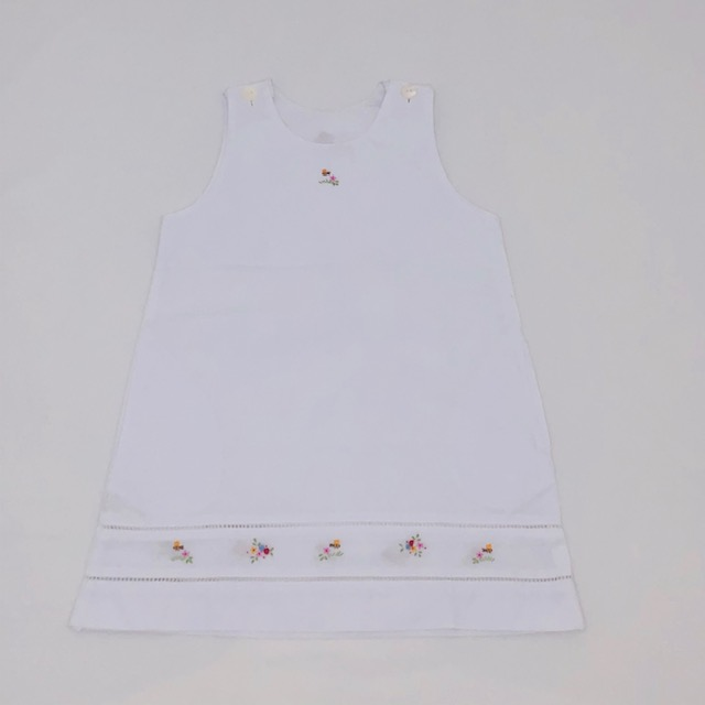 WHITE COTTON SHIFT DRESS WITH EMBROIDERED COLOURED FLOWERS & BEES