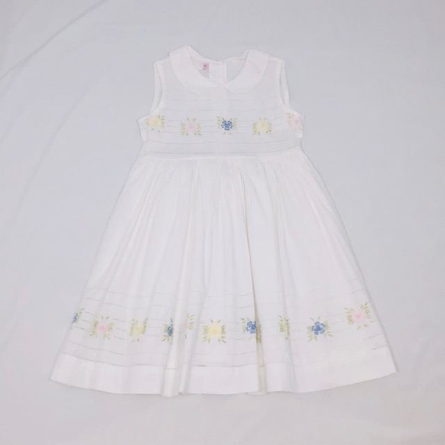 WHITE SWISS COTTON LINED DRESS WITH EMBROIDERED COLOURED FLOWERS