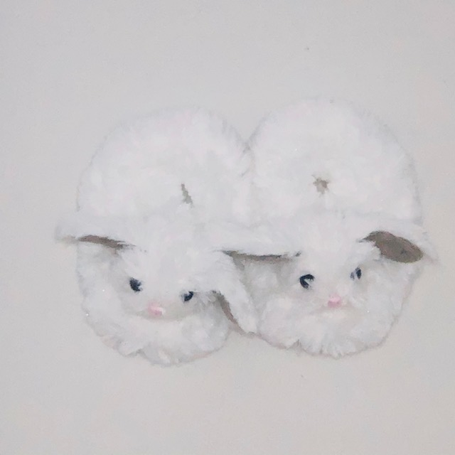 WHITE BUNNY BABY SLIPPERS