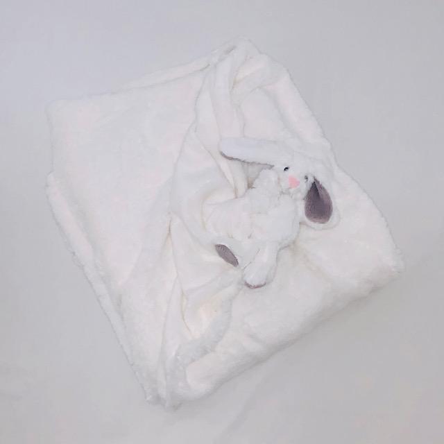 WHITE PLUSH BUNNY BABY BLANKET