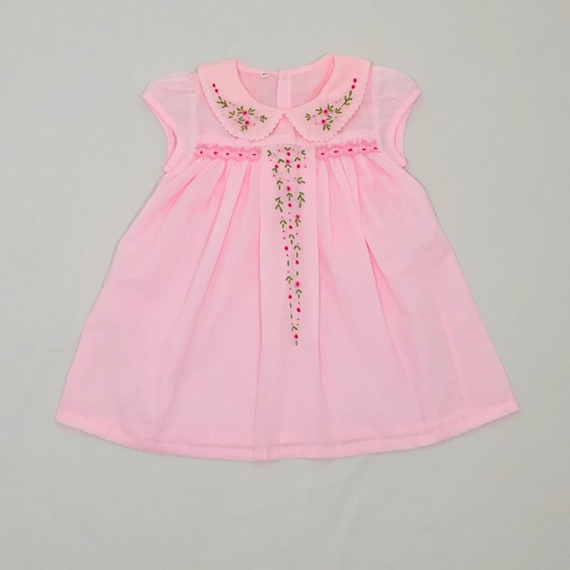 PINK COTTON SMOCK DRESS WITH EMBROIDERED FLOWERS ON BODICE