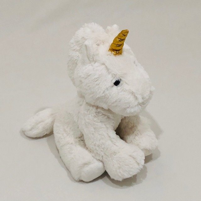 WHITE  PLUSH UNICORN TOY WITH GOLD UNICORN