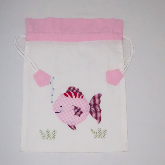 WHITE COTTON BAG WITH PINK FISH