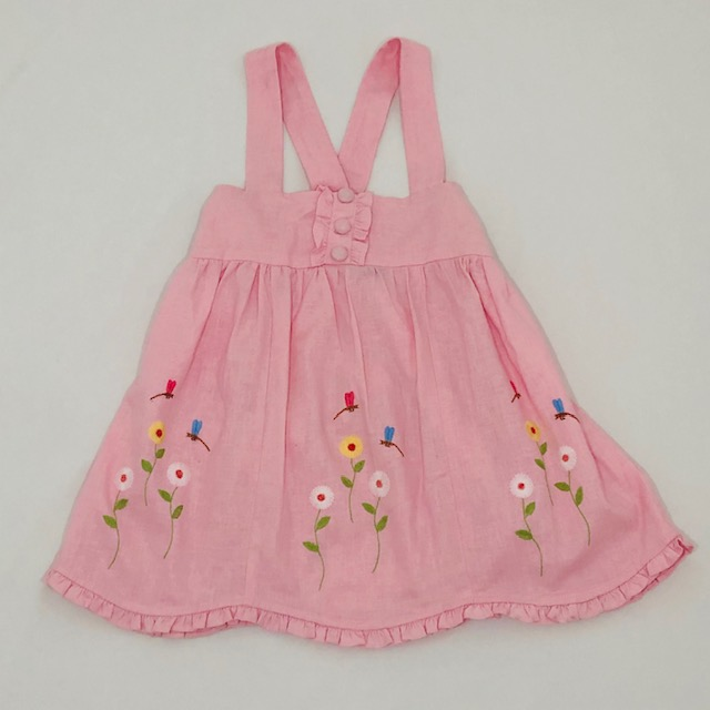 PINK LINEN STRAPPY DRESS WITH EMBROIDERED DRAGONFLIES