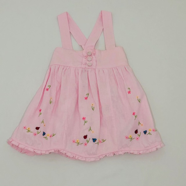 PINK LINEN STRAPPY DRESS WITH EMBROIDERED LADY BUGS