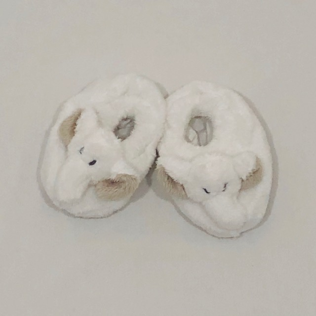 WHITE ELEPHANT BABY SLIPPERS