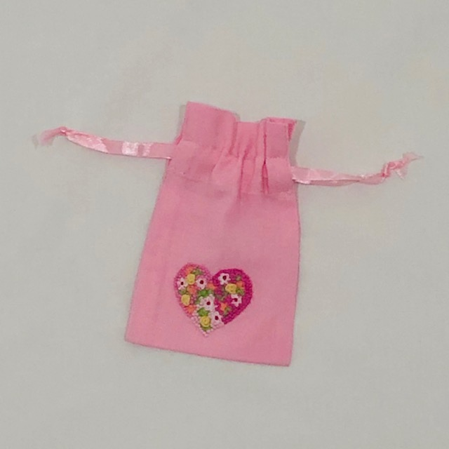 PINK COTTON BAG WITH EMBROIDERED HEART