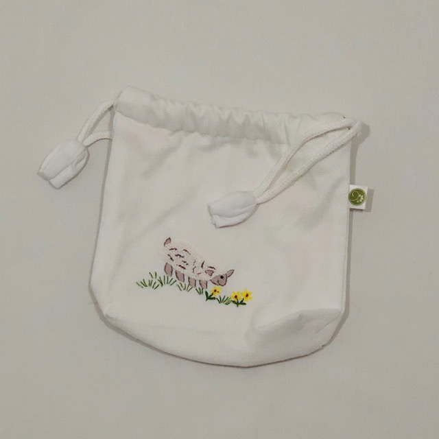 WHITE WATERPROOF COTTON BAG WITH EMBROIDERED SHEEP