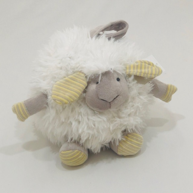 ROUND WHITE FLUFFY LAMB WITH STRIPE EARS