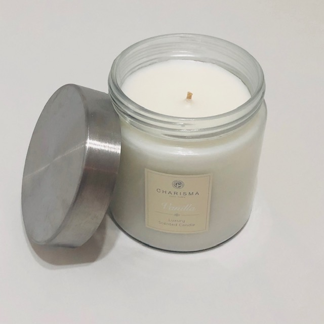 CHARISMA VANILLA SCENTED CANDLE IN GLASS JAR WITH LID
