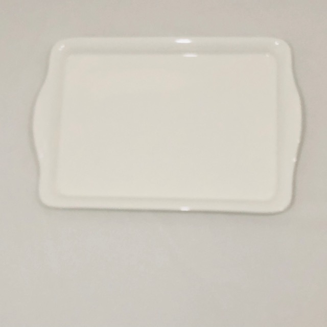 WHITE PORCELAIN RECTANGULAR TRAY WITH FLARED HANDLES