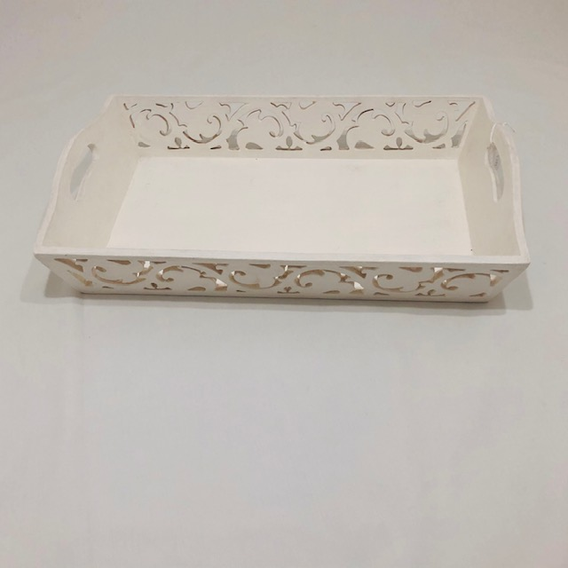CARVED WOODEN WHITE TRAY WITH HANDLES