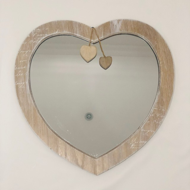 WOODEN HEART SHAPED FRAMED MIRROR WITH 2-HEARTS DANGLING