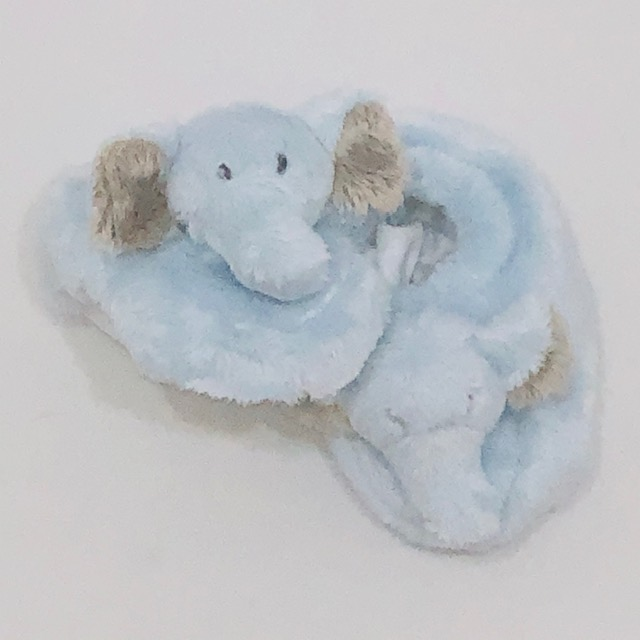 FLUFFY BLUE ELEPHANT SLIPPERS