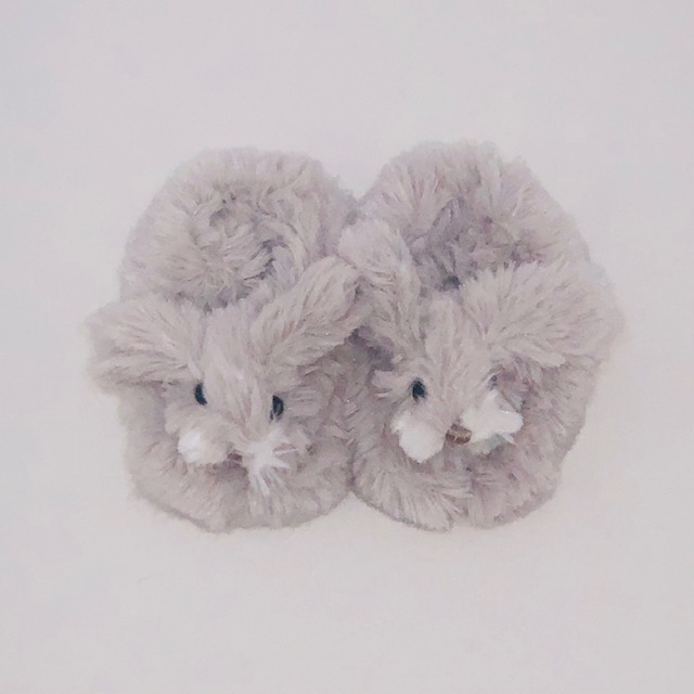FLUFFY GREY BUNNY SLIPPERS