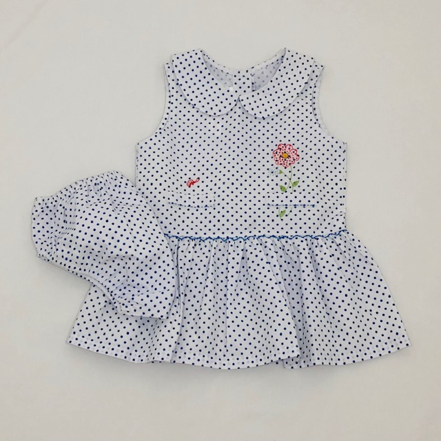 COTTON POLKA DOT DRESS & PANTIE SET WITH EMBROIDERED FLOWER