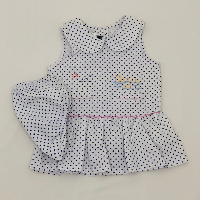 COTTON POLKA DOT DRESS & PANTIE SET WITH EMBROIDERED DUCKS