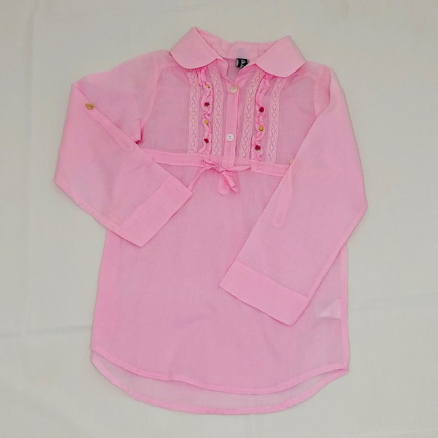 PINK LONG SLEEVE COLLARED TOP WITH EMBROIDERED FLOWERS