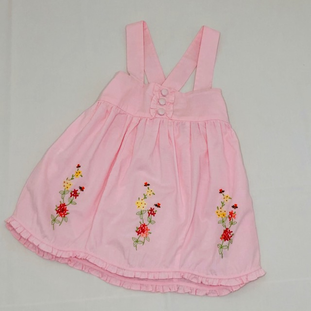 PINK LINEN STRAPPY DRESS WITH EMBROIDERED FLOWERS & BEES