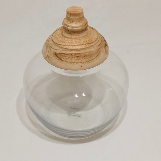 TIMELESS CLEAR GLASS HURRICANE JAR WITH CARVED WOODEN LID