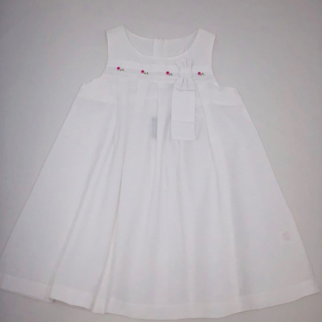 WHITE BOW LINEN DRESS WITH APPLIQUE COLOURED FLOWERS