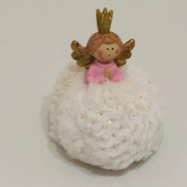 GOLD CROWNED ANGEL WITH SPARKLY PUFFY BODY