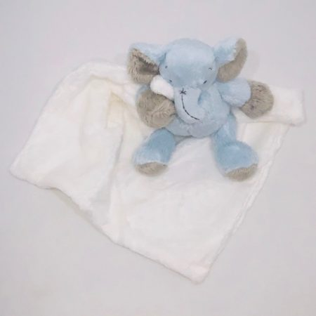 BLUE & WHITE ELEPHANT BABY SECURITY BLANKET