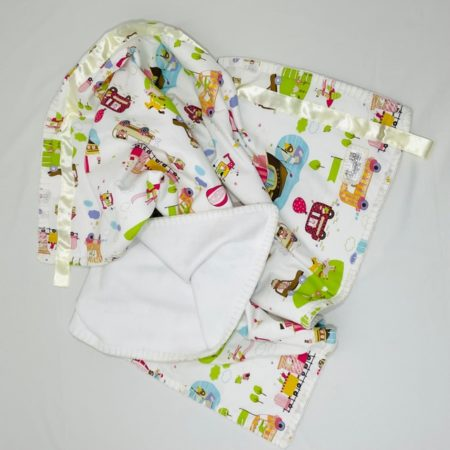 100% COTTON SMALL BABY BLANKET - FUN KIDS TRANSPORT VEHICLES