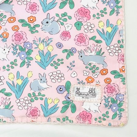100% PINK COTTON, FLEECE LINED BABY SMALL BLANKET WITH BUNNIES