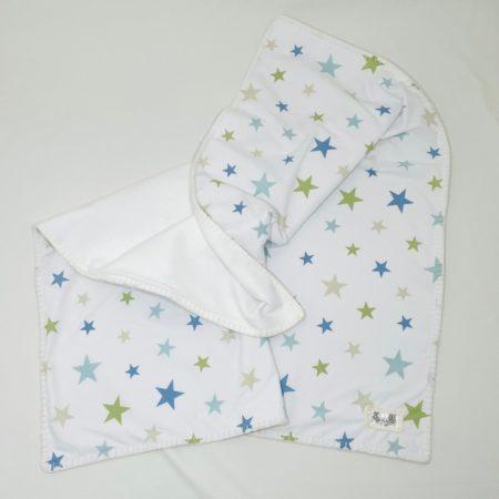 FUN 100% COTTON BLUE & GREEN STAR TRAVEL/STROLLER BABY BLANKET