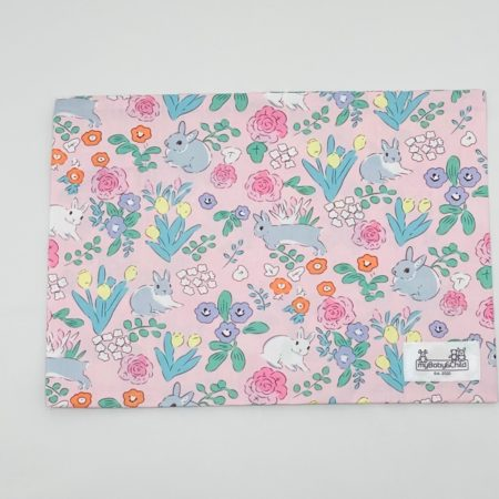 100% COTTON PINK BABY PILLOW SLIP WITH BUNNIES & FLOWERS