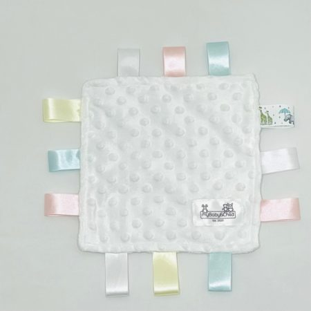 WHITE SECURITY BLANKET WITH PASTEL RIBBON TAGLETS