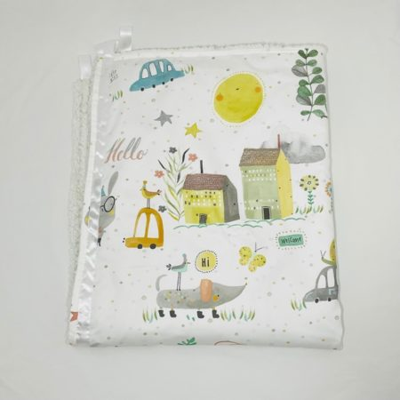 COUNTRYSIDE HI, HELLO, CIAO, WELCOME COTTON & SHERPA BLANKET